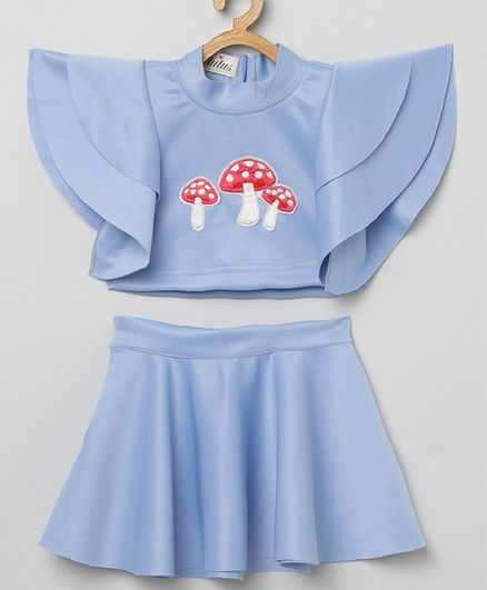 Tutus By Tutu Short Ruffle Sleeves Mushroom Patch Top With Skirt - Violet