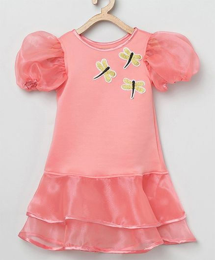 Tutus By Tutu Short Sleeves Dragon Fly Patch Dress - Peach