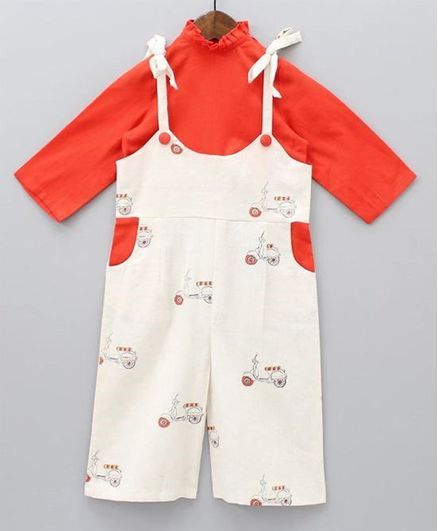 Tutus By Tutu Full Sleeves High Neck Solid Top With Sleeveless Scooter Print Dungaree - Cream Red