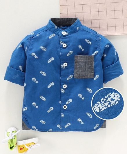 Under Fourteen Only Foot Print Full Sleeves Shirt - Blue