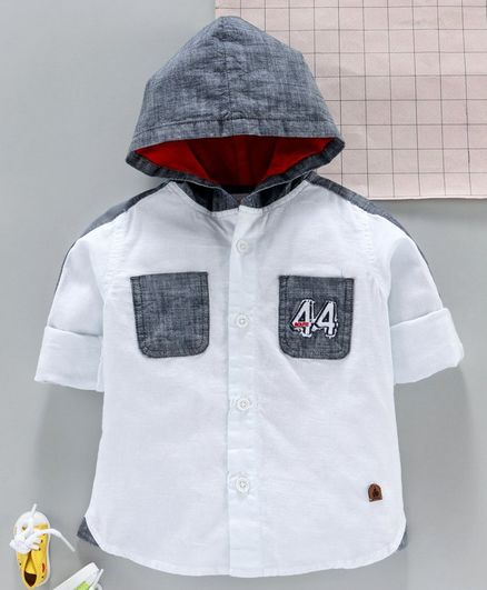 Under Fourteen Only Full Sleeves 44 Number Patch Detailing Hooded Shirt - White