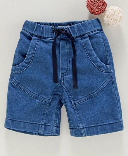 Under Fourteen Only Solid Shorts With Front Pockets - Blue
