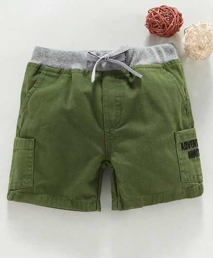 Under Fourteen Only Adventure Awaits Embroidered Shorts - Green