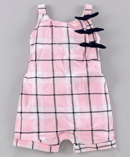Babyoye Cotton Singlet Sleeves Checked Jumpsuit - Pink