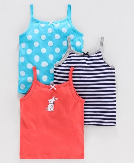 Babyoye Cotton Polka Dots & Striped Singlet Camisole Pack of 3 - Turquoise Navy Coral