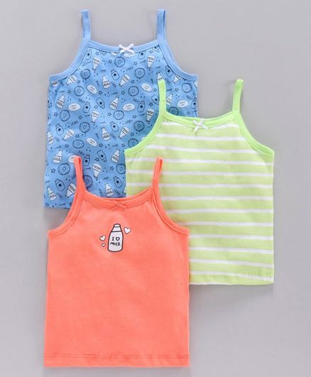 Babyoye Cotton Camisole Printed & Striped Pack of 3 - Multicolor