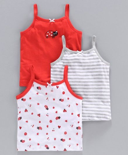 Babyoye Cotton Singlet Camisole Ladybug Pack of 3 - Red White