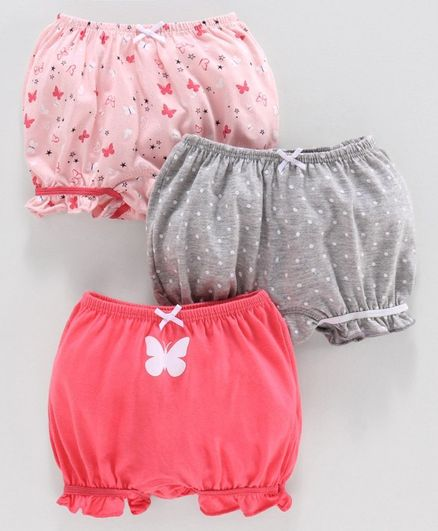 Babyoye Bloomers Polka Dot & Butterfly Print Pack of 3 - Pink Grey