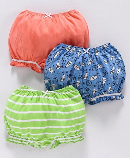 Babyoye Cotton Bloomers Milk Bottle Print Pack of 3 - Orange Blue Green