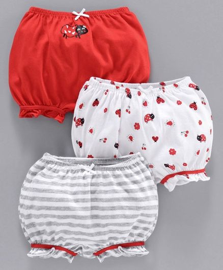 Babyoye Bloomers Striped & ladybug Print Pack of 3 - Red White