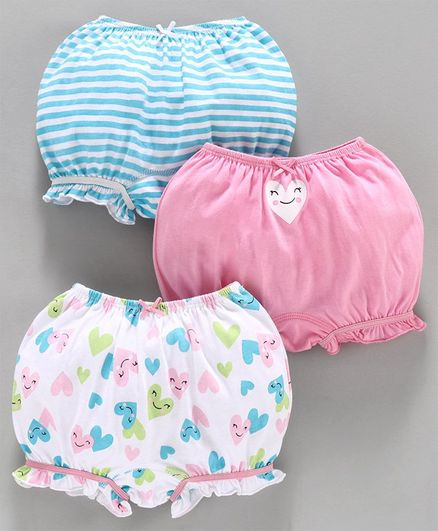 Babyoye Cotton Bloomers Heart Print Pack of 3 - Blue Pink White