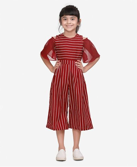 Lilpicks Couture Striped Cold Shoulder Half Sleeves Flared Jumpsuit - Maroon