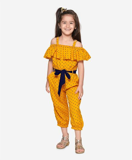 Lilpicks Couture Short Sleeves Cold Shoulder Polka Dot Print Jumpsuit - Yellow
