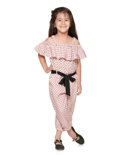 Lilpicks Couture Short Sleeves Cold Shoulder Polka Dot Print Jumpsuit - Pink