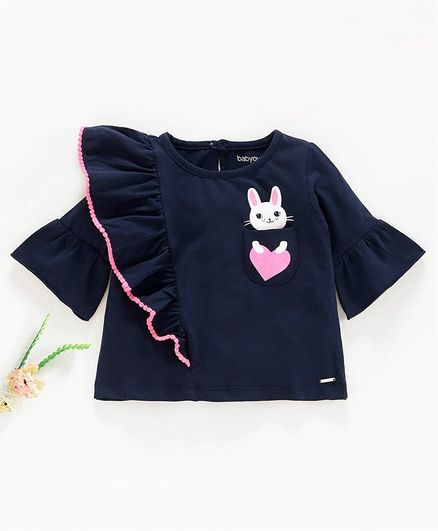 Babyoye 3/4th Sleeves Pom Pom Lace Ruffled Top Bunny Print - Navy Blue