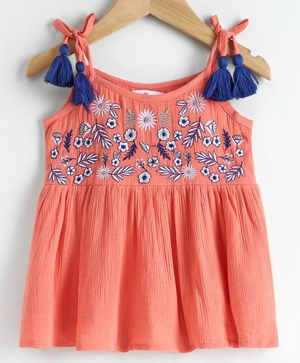 Babyoye Cotton Singlet Neck Top Floral Embroidered - Peach