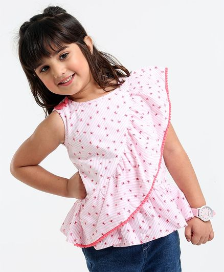 Babyoye Cotton Sleeveless Top Butterfly Print - White Pink