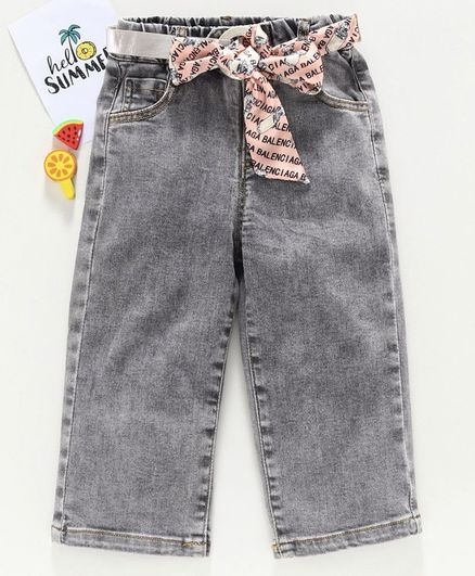 Kookie Kids Full Length Straight Fit Denim Pant With Fabric Belt - Grey