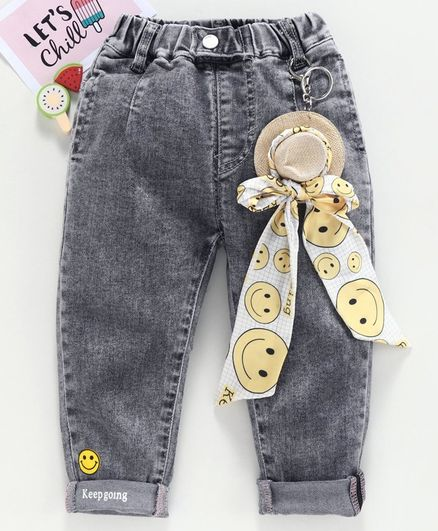 Kookie Kids Full Length Denim Jeans With Smiley Hat Clip On - Grey