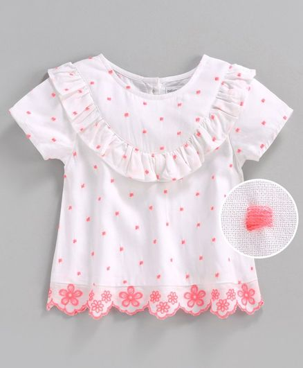 Babyoye Cotton Short Sleeves Top Floral Embroidery - White