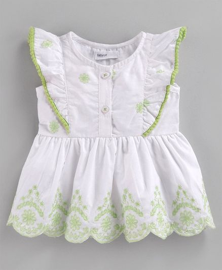 Babyoye Flutter Sleeves Cotton Top Floral Embroidery - White Green