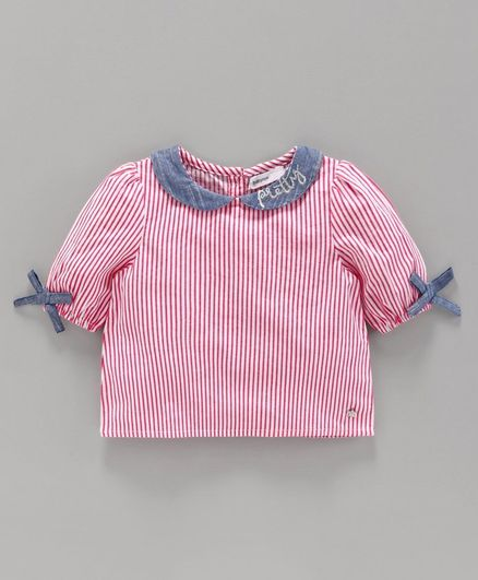 Babyoye Half Sleeves Striped Top - White Pink