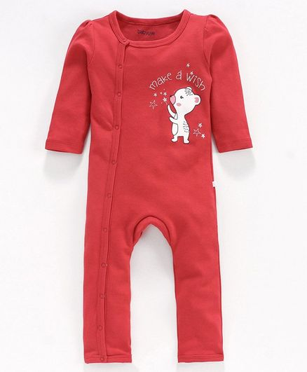 Babyoye Sleepsuit with Cap, Mittens & Booties Animal Print - Red