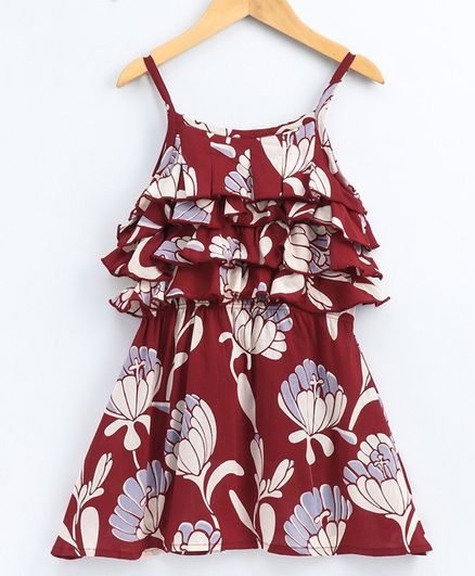Kiddopanti Flower Printed Yoke Layer Detailing Sleeveless Dress - Red