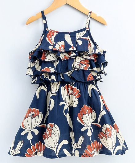Kiddopanti Flower Printed Yoke Layer Detailing Sleeveless Dress - Navy Blue