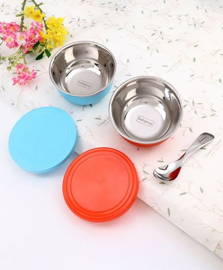 Babyhug Stainless Steel Spill Proof Bowl Set Of 2 With Spoon (Colour May Vary)