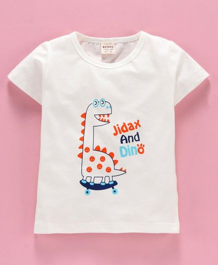 Kookie Kids Short Sleeves Tee Dino Print - White