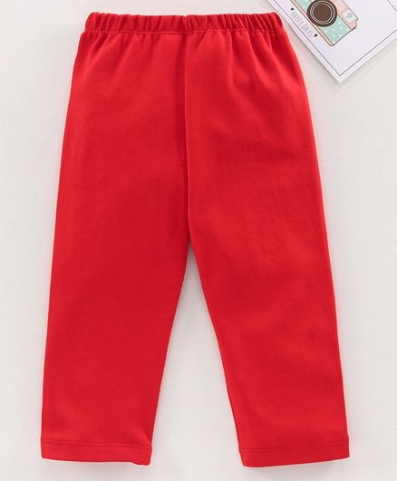 Babyhug Full Length Solid Leggings - Red