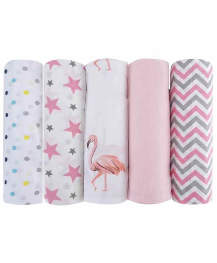 haus & kinder 100% Cotton Muslin Swaddle Wrap Pack of 5 - Pink & White
