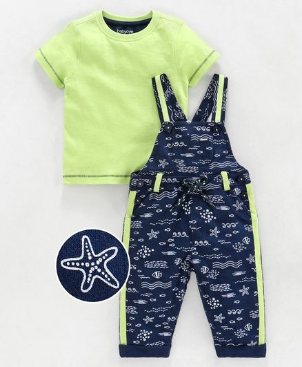 Babyoye Cotton Dungaree with Half Sleeves Tee Fish Print - Green Blue