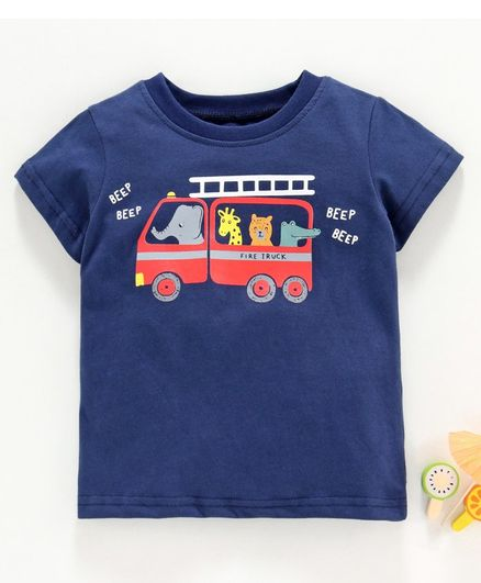 Kookie Kids Half Sleeves Tee Fire Truck Print - Navy Blue