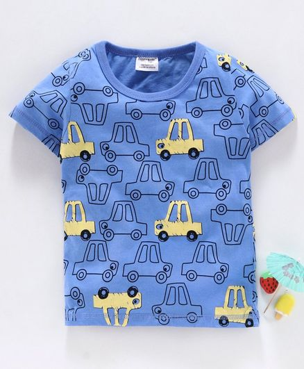 Kookie Kids Half Sleeves Tee Car Print - Blue