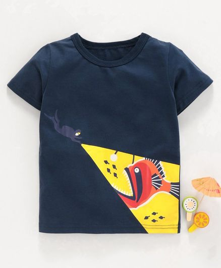 Kookie Kids Half Sleeves Tee Under Water Print - Navy Blue