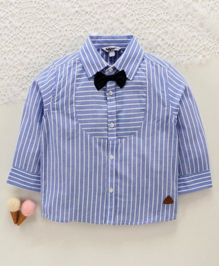 ToffyHouse Full Sleeves Striped Shirt with Bow - Blue