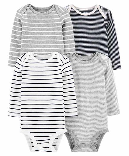 Carter's 4-Pack Striped Original Bodysuits - Grey White