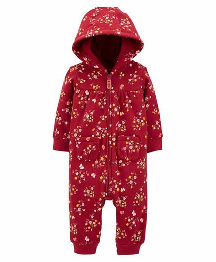 Carter's   Floral Fleece Jumpsuit - Maroon