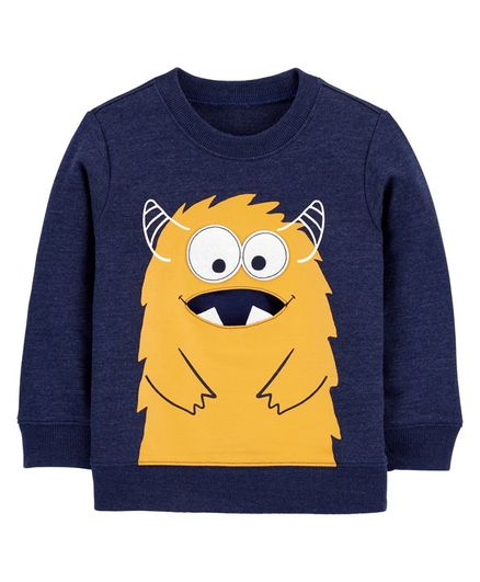 Carter's Monster French Terry Pullover - Navy Blue