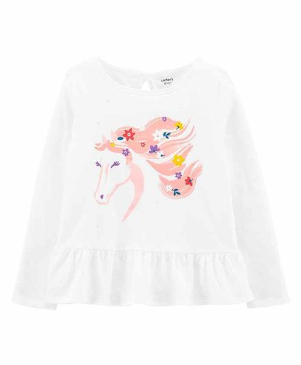 Carter's Floral Horse Peplum Jersey Top - White