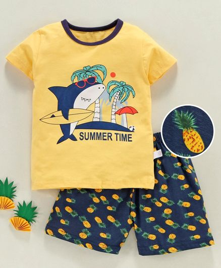 Kookie Kids Half Sleeves Night Suit Shark Print - Yellow Navy Blue