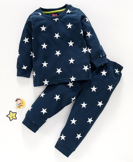 Babyhug Full Sleeves Night Suit Star Print - Navy Blue
