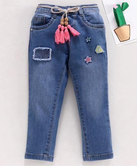 Babyhug Full Length Denim Jeans Star & Diamond Patch - Blue