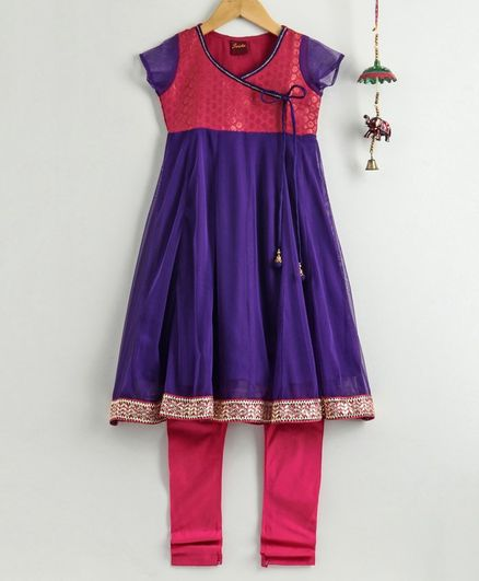 Twisha Cap Sleeves Brocade Yoke Kurta With Churidar - Purple Pink