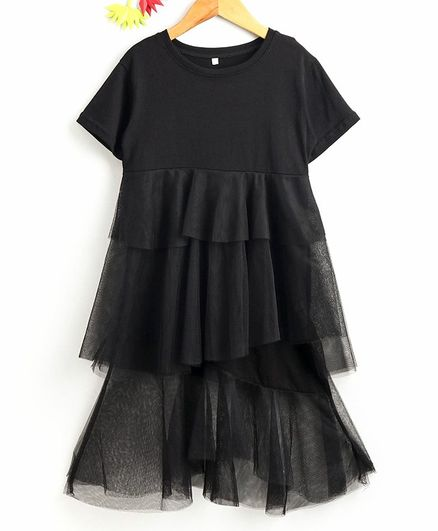 Kookie Kids Half Sleeves Solid Net Frock - Black