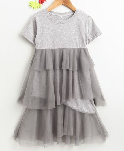 Kookie Kids Half Sleeves Solid Net Frock - Grey