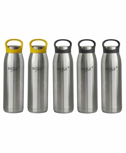 Sizzle Stainless Steel Water Bottle Grey & Yellow Set of 5 - 900 ml Each