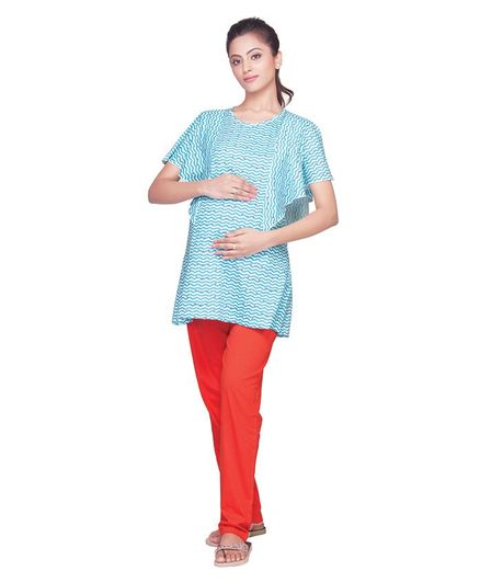 Kriti Short Sleeves Maternity Top with Bottom Zig Zag Print - Blue